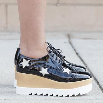 shoes oxfords platform shoes platform oxfords black shoes black oxfords black stars