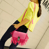 bag,sweet,tassel,embellished,solid,flap shoulder,women,black pants,yellow shirt