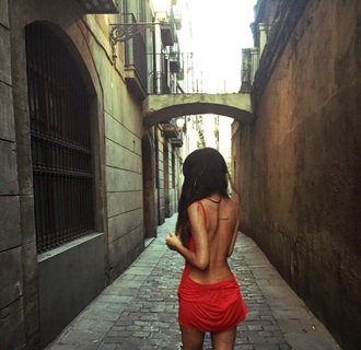 dress red dress backless dress