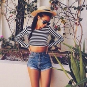 blouse,shorts,striped top,summer,hat,shirt,top,crop tops,navy,style,summer top,tumblr