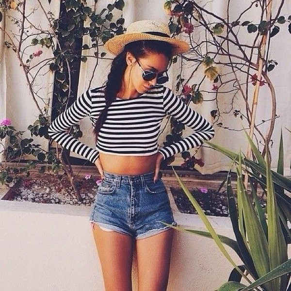 blouse shorts striped top summer hat shirt top crop tops navy style summer top tumblr