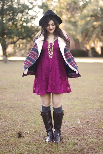 a walk in the park blogger coat hat purple dress brown leather boots knee high socks dress jewels socks shoes