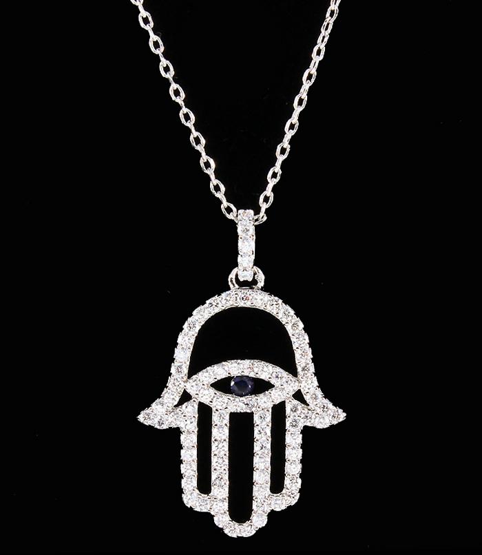 Outlined Hamsa Evil Eye Cubic Zirconia Necklace