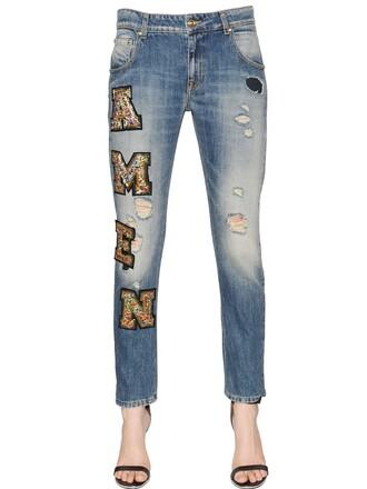 jeans denim embellished cotton gold blue