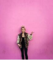 jacket,zara larsson,lush life,lush,smooth,baseball jacket,leopard print,faux fur,faux fur jacket,fashion,sweden,pink,music