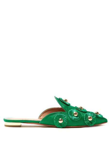Aquazzura embellished sunflower shoes green