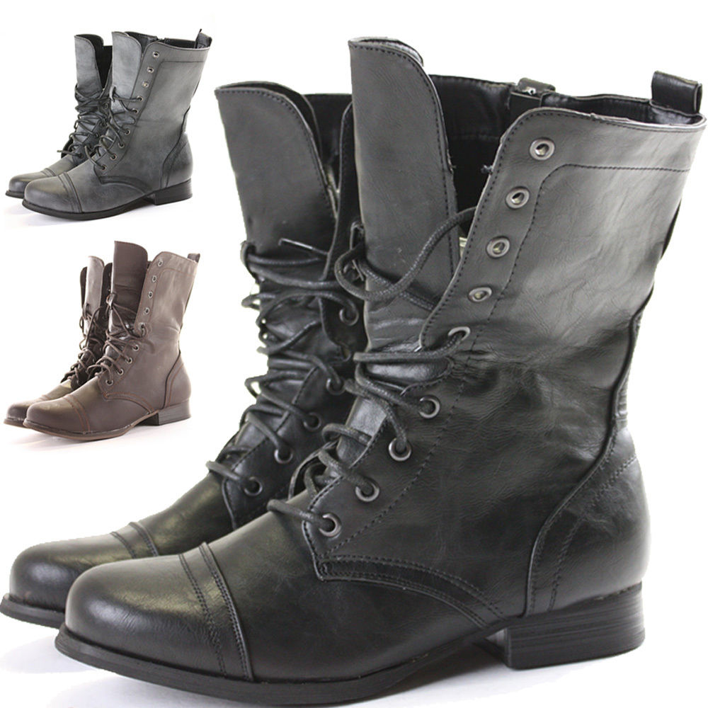 Excellent WOMENS LOW HEEL LACE UP KNITTED CUFF ZIP BIKER COMBAT ARMY MILITARY ANKLE BOOTS