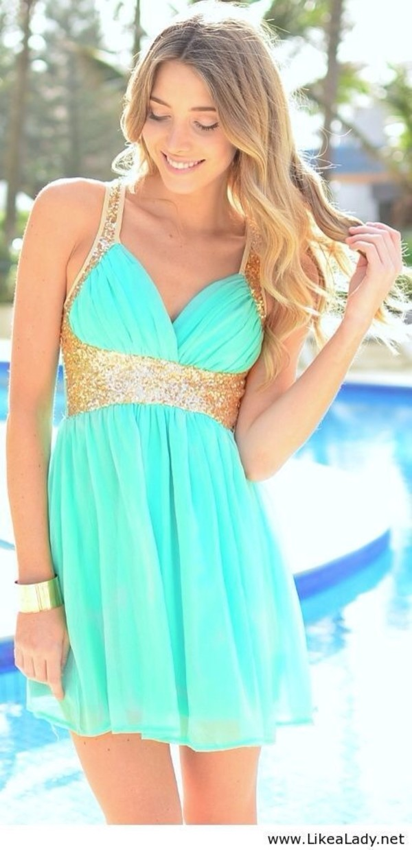New Pretty Bow Teal Gold Sequin Mini Halter Party Summer Dress s ...
