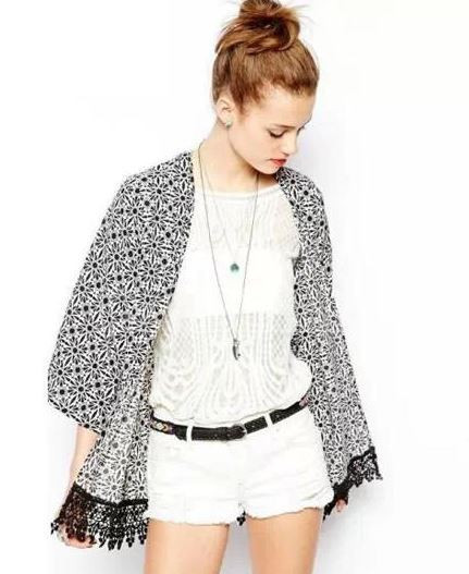 Black & white nory kimono