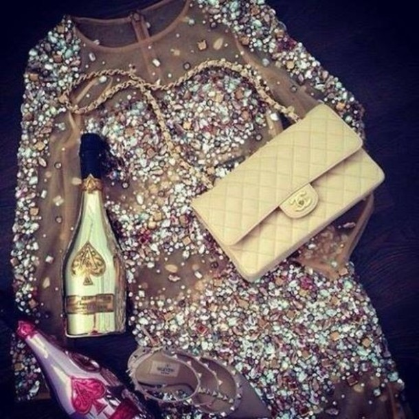 Dress sparkle glitter glitter dress classy beige for Glitter new years dresses