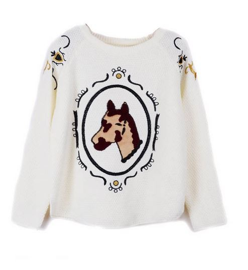 White Horse Head Sweater with Embroidery Detail