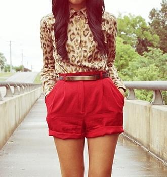 shirt shorts red cheetah print top