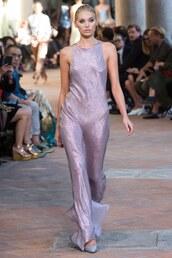 dress,maxi dress,gown,elsa hosk,milan fashion week 2017,fashion week 2017,lilac,alberta ferretti
