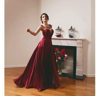 dress red dress gown ball gown dress prom dress