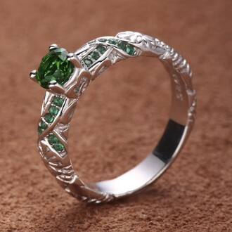 jewels green emerald ring 925 sterling silver engagement ring evolees.com unique flower and vine designe 925 sterling silver emerald engagement ring