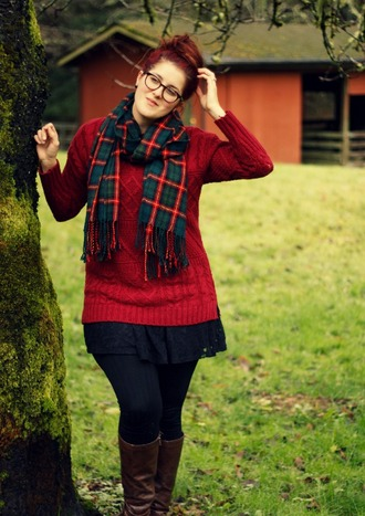 scarf plaid scarves red sweater long sweater curvy tartan scarf