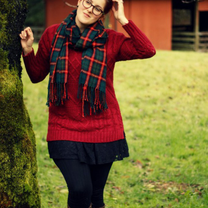 scarf tartan scarf plaid scarves red sweater long sweater curvy scarf red