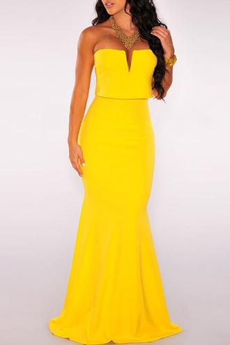 dress zaful yellow yellow dress long yellow dress summer dress long summe dess maxi maxi dress strapless sexy sexy yellow maxi wots-hot-right-now plunging sleeveless occasion evening outfits full length