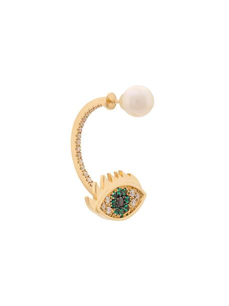 Delfina Delettrez eyes women gold grey metallic jewels