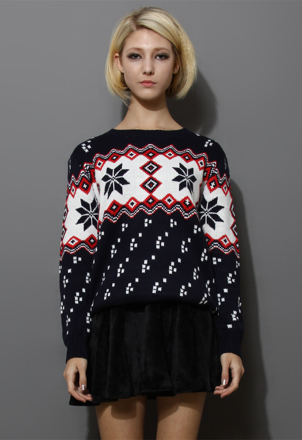 sweater snowflake fairisle navy