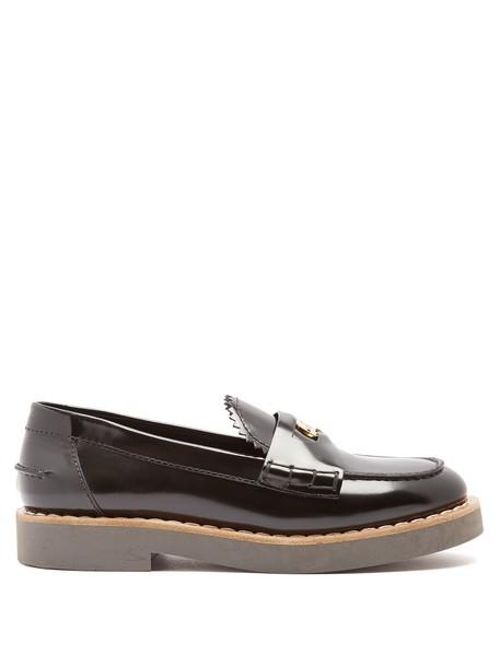 Miu Miu embellished loafers leather black shoes