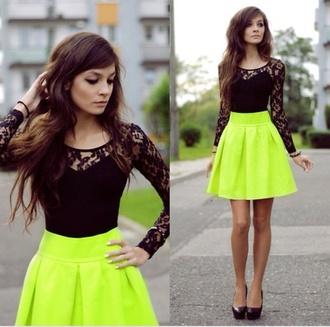 shirt skirt black blouse lime lime skirt lace black lace shirt