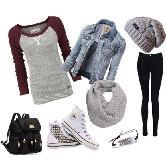 jeans bag top fall outfits baseball tee long sleeves long sleeve shirt scarf jean jackets converse