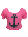 Neon Pink Anchor Crop Top
