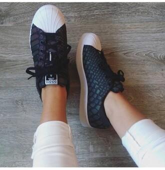 shoes black leather snake print adidas superstars