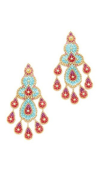 earrings blue red jewels