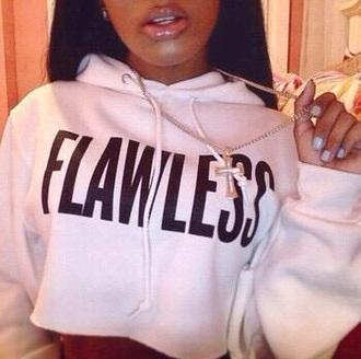 shirt crop hoodie pink flawless cropped hoodie flawless sweatshirt flawless crop hoodie