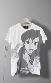 t-shirt,punk,the little mermaid,disney,top,young,tumblr,tattoo,shirt,rock,princess,disney princess,black,white,crop tops,band t-shirt,disney punk,black and white,strechers,piercing,pop punk,blouse,cute,walt disney,white t-shirt,emo,india love,india westbrooks,disney sweater,tshirt design,punk princess