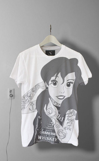 t-shirt punk the little mermaid disney top young tumblr tattoo shirt rock princess disney princess black white crop tops band t-shirt strechers piercing disney punk pop punk blouse