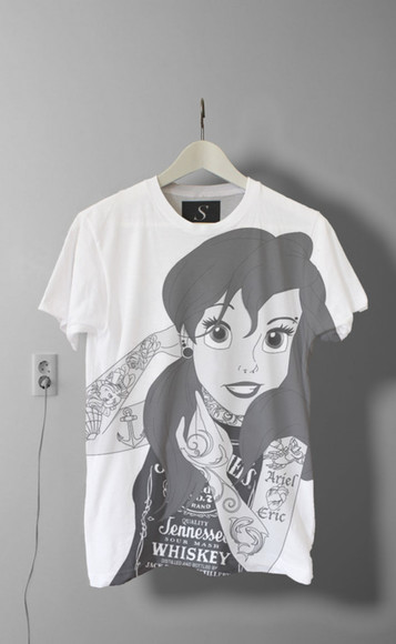 ariel shirt disney punk black white princess ariel the little mermaid t-shirt rock disney princesses crop tops band t-shirt tops young tumblr tatoo punk, ariel, little mermaid, t-shirt, tshirt, uk