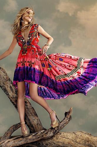 dress red tribal pattern crepe silk parides viscose bikiniluxe