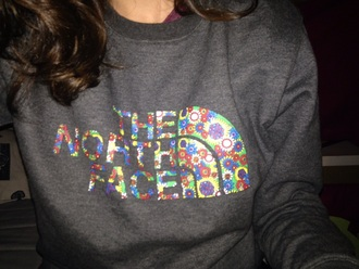sweater north face flowers grey