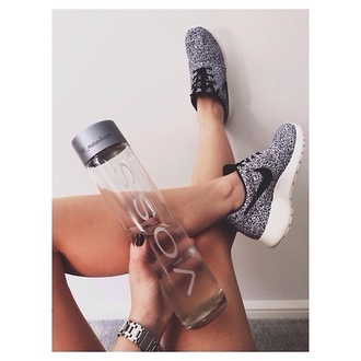 shoes nike nike roshe run voss bottle grey black white roshe runs roshes roshrun airmac dot black and white