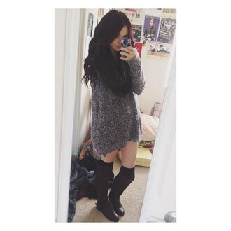 sweater boots brown boots gorgeous acacia brinley leg warmers black grey t-shirt scarf