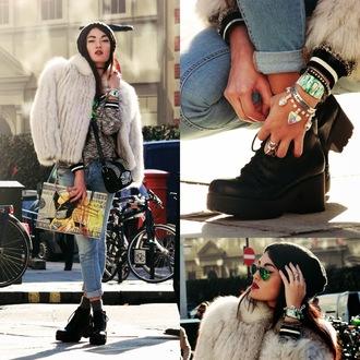 alessandra kamaile blogger jacket jeans jewels bag sunglasses fur coat bracelets grey sweater