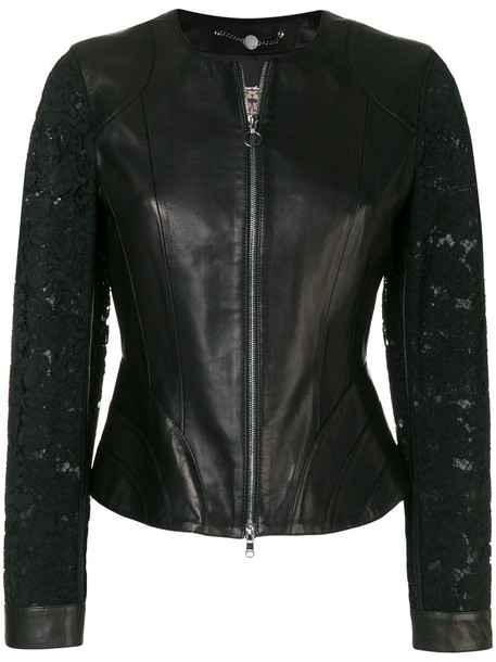 Marc Cain jacket women lace leather cotton black