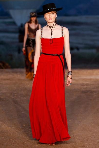 dress dior cruise collection red dress maxi dress long dress belt hat black  hat 2362825c6cf