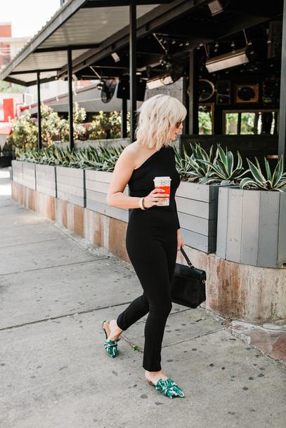 3afa361eea8 jumpsuit tumblr black jumpsuit one shoulder shoes slide shoes mules bag  black bag spring outfits