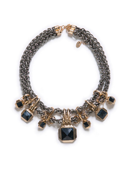 chain gold jewels necklace silver black obsidian zara statement statement necklace neckpiece oversized neckpiece