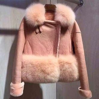 jacket fur pink pink fur pink fur coat fur coat baby pink fur collar coat