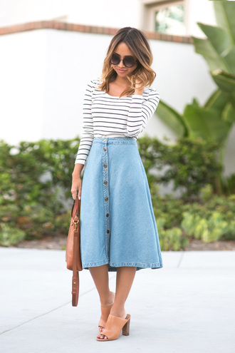 lace and locks blogger button up skirt denim skirt striped top mules