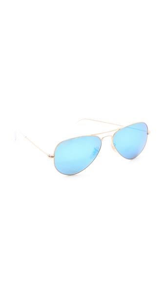 Ray-Ban Mirrored Matte Classic Aviator Sunglasses | SHOPBOP