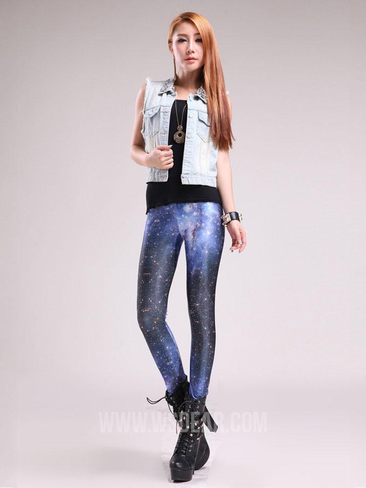 Slim street style the galaxy printed blue leggings