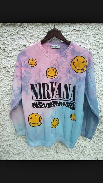 shirt nirvana sweatshirt nirvana t-shirt nirvana sweater cardigan tie dye sweater tie dye fashion