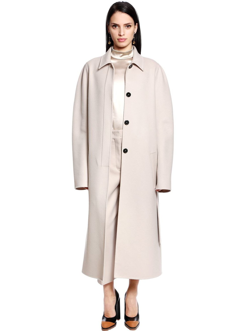 JIL SANDER Belted Virgin Wool & Cashmere Coat