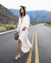 dress,tumblr,maxi dress,long dress,white dress,slit dress,v neck,v neck dress,plunge v neck,sandals,white sandals,bag,bandana,long sleeves,long sleeve dress